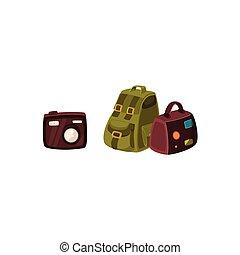 compatto, viaggiare, macchina fotografica, digitale, zaino, borsa