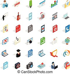 Compendium icons set. Isometric set of 36 compendium vector icons for web isolated on white background