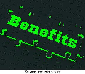 compensação, mostrando, benefícios, quebra-cabeça, monetário