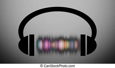 compensateur, écouteurs, graphique, animation