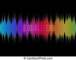 compensateur, arc-en-ciel, coloré, sound., couleur, concept., illustration, sombre, arrière-plan., vecteur, musique, visualisation, forme onde, waves., design.