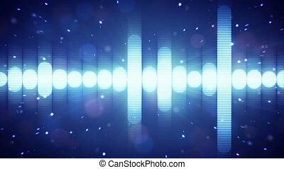 compensateur, bleu, boucle, audio, forme onde