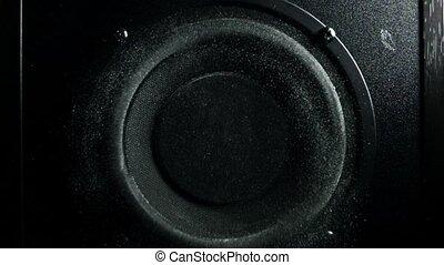 compensateur, concept, bruyant, motion., air., lent, orateur, poussière, super, jets
