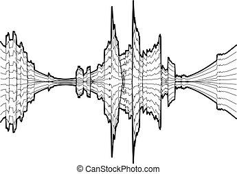compensateur, style, simple, mètre, noir, icône, audio
