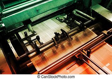 compensatie, bezig met afdrukken van, machine