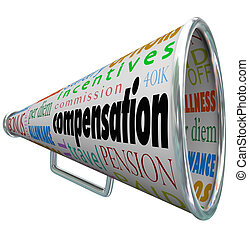 Compensation Bullhorn Megaphone Salary Pay Benefits -...