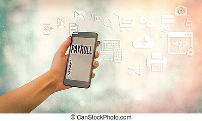 compensation, concept, total, employees., texte, payer, tout, devoir, business, sien, payroll., écriture, signification