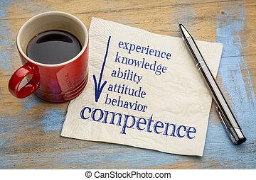 competência, conceito, ligado, guardanapo, com, café