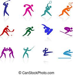 competative, e, olímpico, esportes, ícone, cobrança