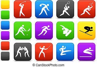 competative, y, olímpico, deportes, icono, colección