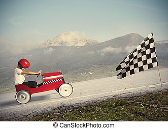 Compete with children car - Child climb a mountain with a ...