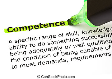 Competence highlighted in green - Definition of the word...