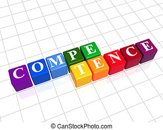 competence in color cubes - competence text - white letters ...