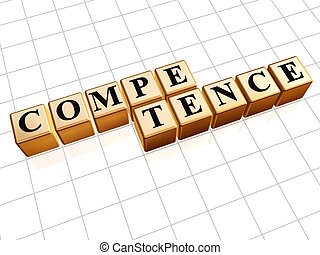 competence in golden cubes - competence text - text in 3d ...