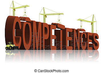 tower cranes building 3D word competences