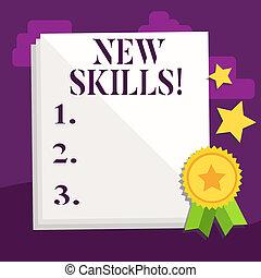 competences., concepto, recientemente, conocimiento, skills., acquired, texto, significado, habilidades, nuevo, escritura, aprendido