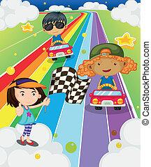 competencia de automóvil, camino, colorido