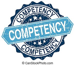competency blue round grunge stamp on white