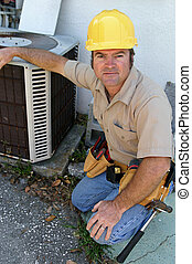 Competent AC Repairman - A handsome, competent looking air ...