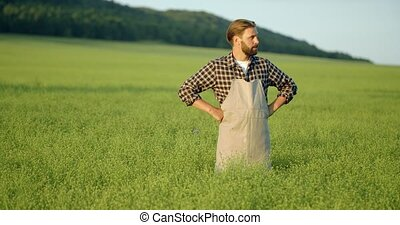 Competent farmer analyzing quality and development of plants...