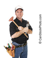 Competent Handyman - Handyman with his tools isolated on...