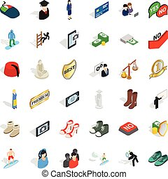 Competent icons set, isometric style - Competent icons set. ...