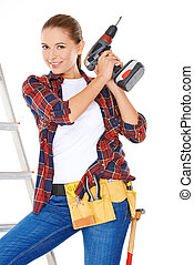 Competent young DIY woman - Competent attractive young DIY...