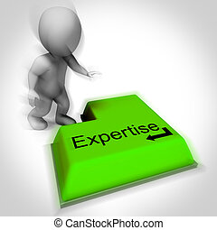 competenza, tastiera, mostra, specialista, conoscenza, e,...