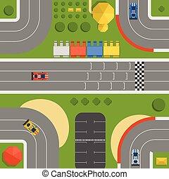 competição, desporto, car, symbols., pneu, automóvel, topo, linha., vector., fórmula, rodovia, acabamento, transporte, pista, speedway, chama, curva, raça, circuito, construtor, estrada, vista