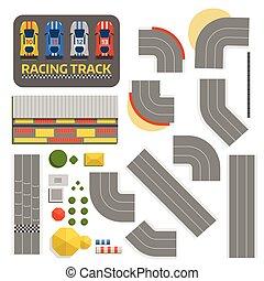 competición, deporte, coche, symbols., neumático, automóvil, cima, línea., vector., fórmula, carretera, fin, transporte, pista, pista de carreras, llamarada, curva, carrera, circuito, constructor, camino, vista