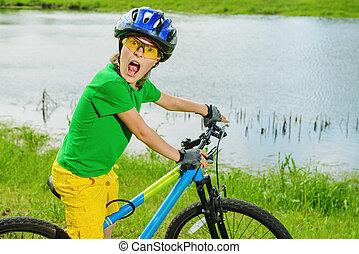competición, en, bicicleta