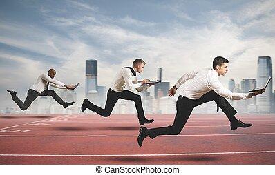 competición, en, empresa / negocio