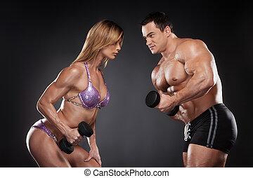 competición, entre, hembra, y, macho, bodybuilder.,...