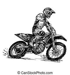competición, motocross, dibujo
