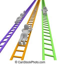 competición, y, ladders., 3d, rendido, illustration.