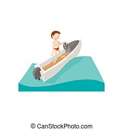 competir barco, caricatura, icono