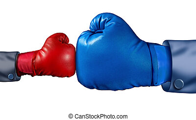 Competition and adversity and fighting the establishment as a new small business against a huge established corporation as a smaller boxing glove versus a huge one as a symbol of overcoming challenges with courage and conviction.