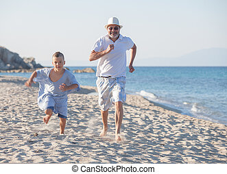 Competition Beach Sea Grandfather Generations Grandson Running