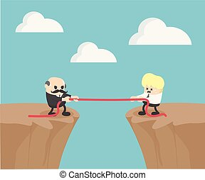 Competition between the two businessmen. Elderly Business and Young Businessman on the steep cliffs