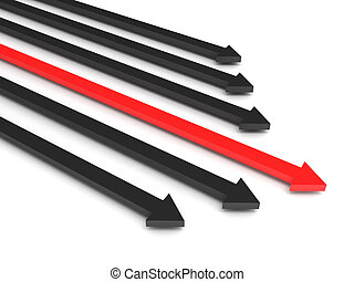 Competition. Black arrows and leading red arrow isolated on white background. High quality 3d render.