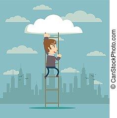 businessman climbing on ladder to cloud