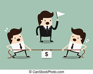 Competition concept - Businessmen in a tug-of-war....