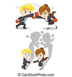 Competition concept - cartoon illustration set of Business...
