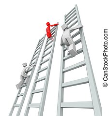 Contestants challenge and climbing ladder to reach the top 3d illustration