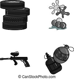 Competition, contest, equipment, tires .Paintball set collection icons in monochrome style vector symbol stock illustration web.