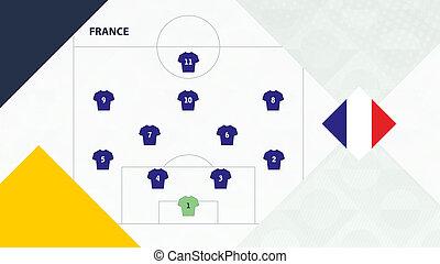 competition., football, 4-2-3-1, préféré, système, france, formation, fond, équipe, football, européen