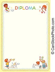 Competition of children's drawings. Template for diploma