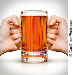 competition of two hands with beer in glass