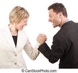 Shouting, fighting white business man and woman