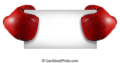 Competition sign with two red boxing gloves holding a blank white card as a business symbol of competitive sales or an important announcement day special isolated on white.